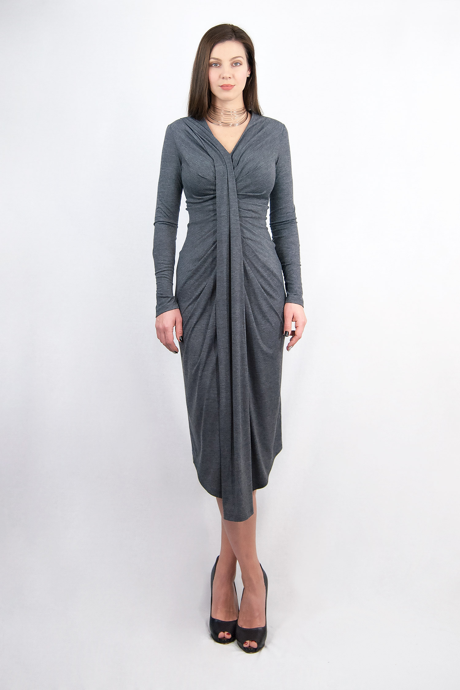 Gray dress with drapery in front